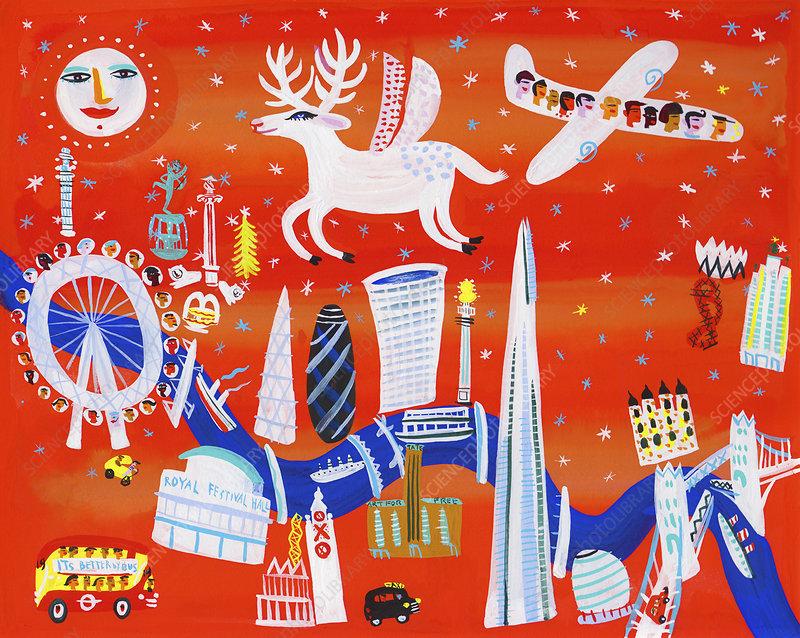 Landmarks along the River Thames at Christmas, illustration