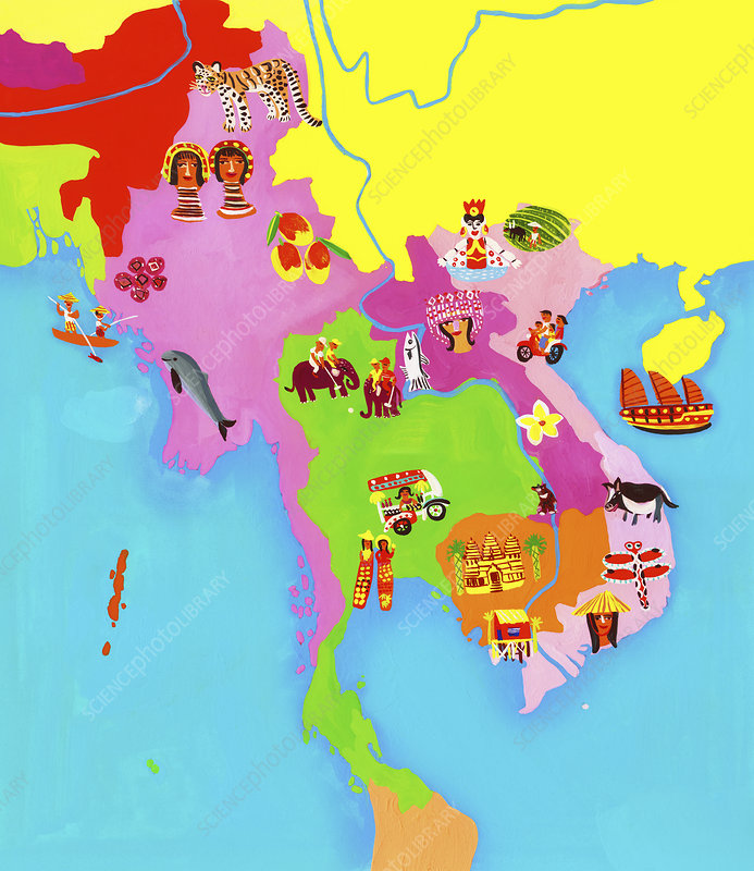 Map of Southeast Asia, illustration