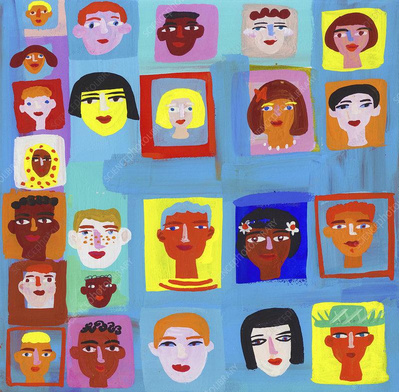 Different faces, illustration