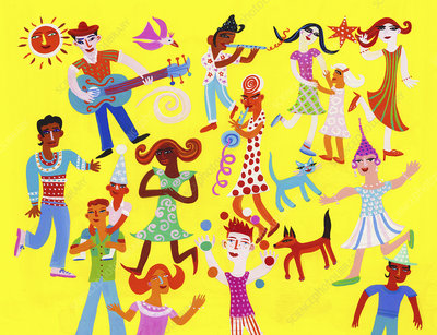 People playing music and dancing, illustration