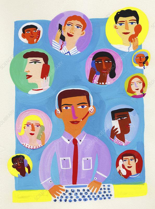 Customer service employee talking on phone, illustration