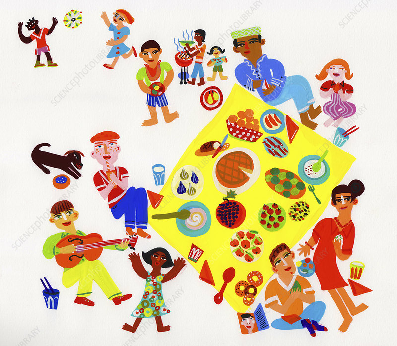 People enjoying picnic barbecue, illustration