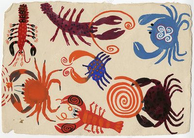 Patterned lobsters and crabs, illustration