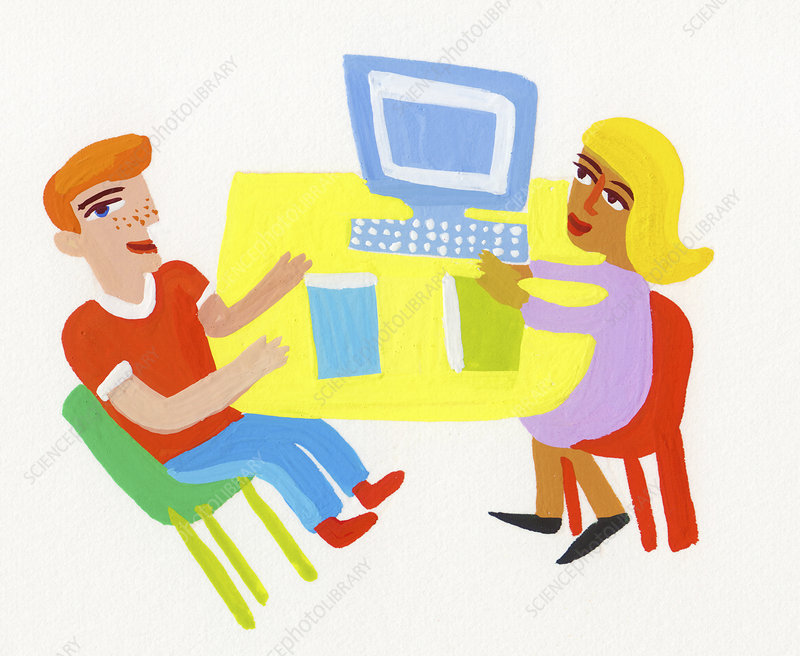 Office workers discussing business, illustration