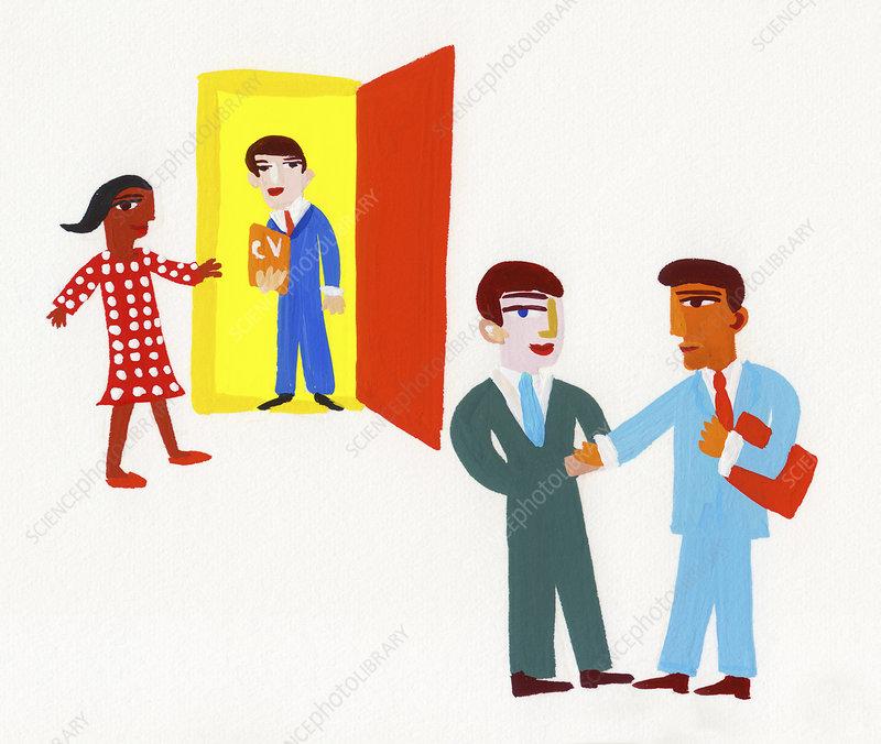 Businessmen arriving for job interview, illustration