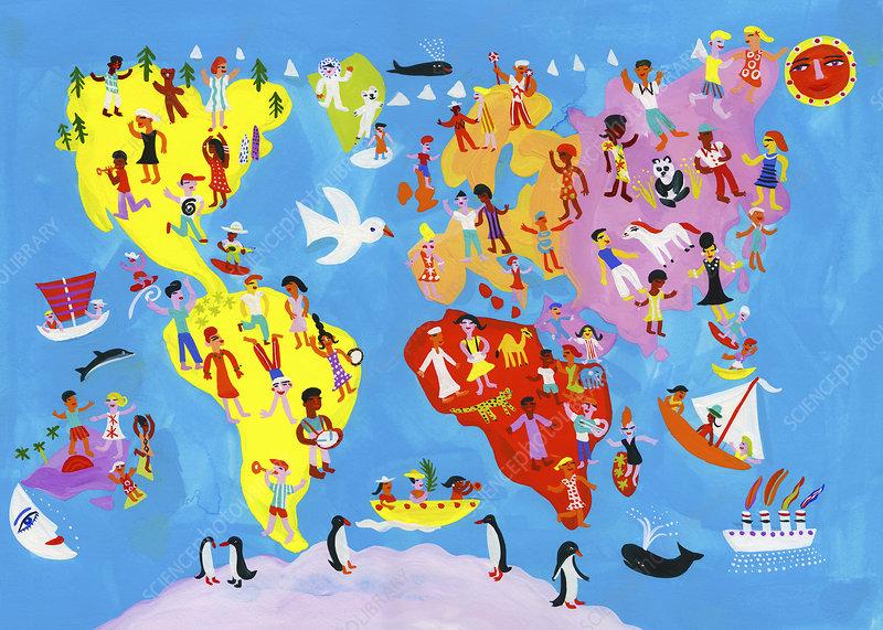 World map of people having fun, illustration