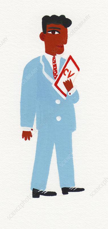 Businessman holding cv, illustration