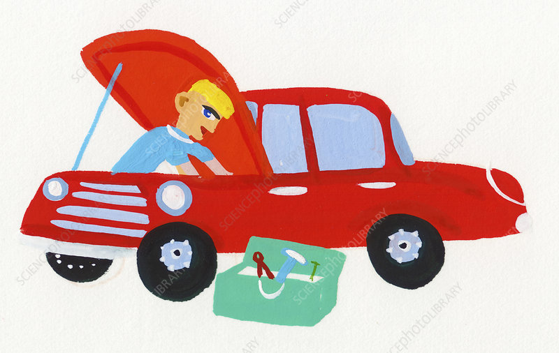 Mechanic repairing car, illustration