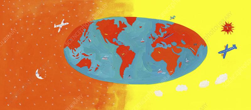 Different types of transport on world map, illustration