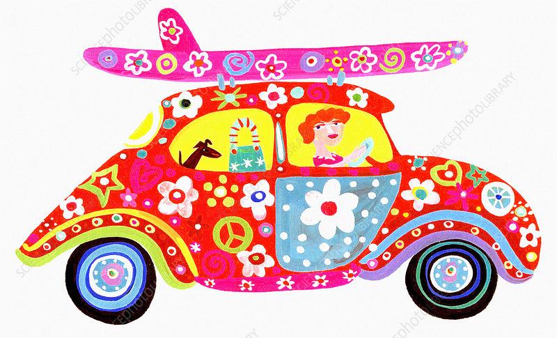 Woman driving hippy flower power car, illustration