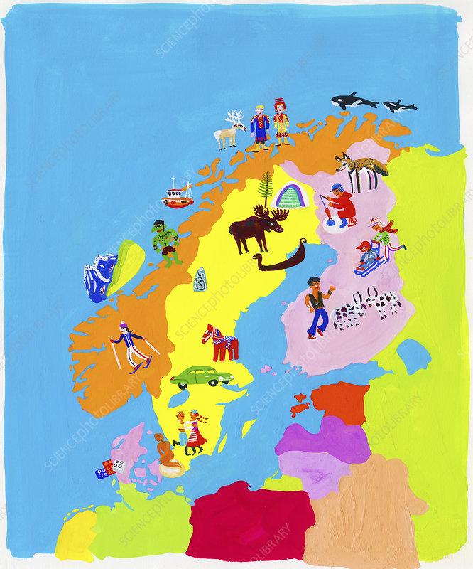 Map of Scandinavia, illustration