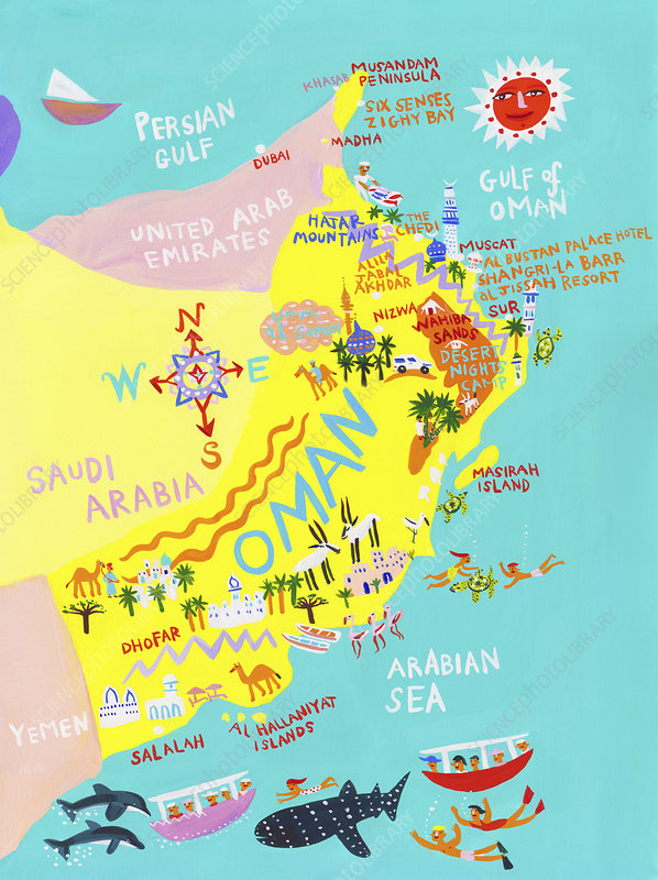 Map of Oman, illustration