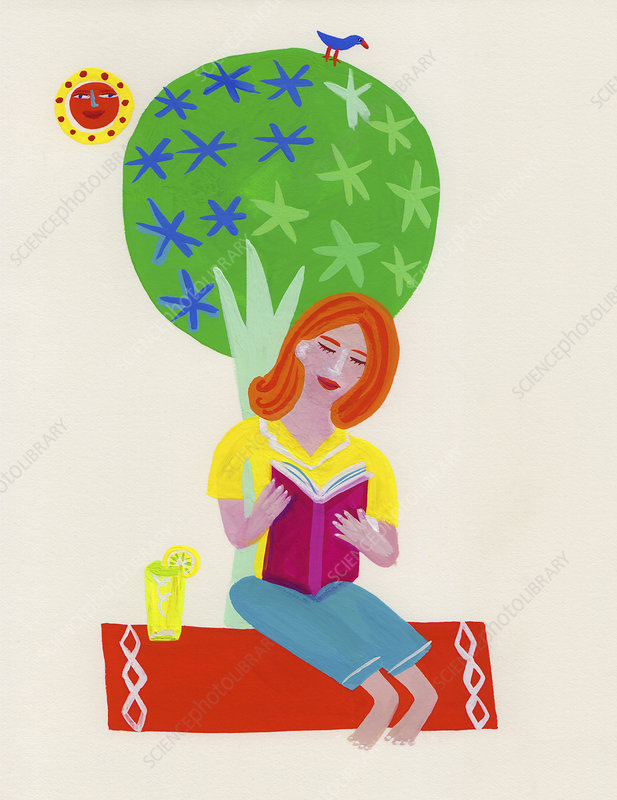 Woman relaxing reading book, illustration