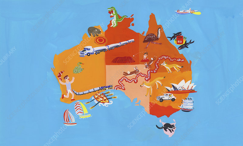 Tourism map of Australia and Tasmania, illustration