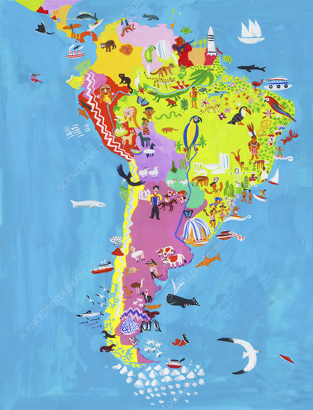 Map of Central and South America, illustration
