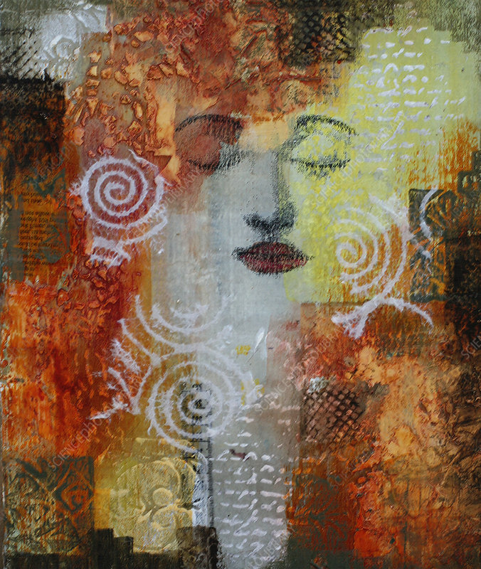 Mysterious face of woman in abstract pattern, illustration