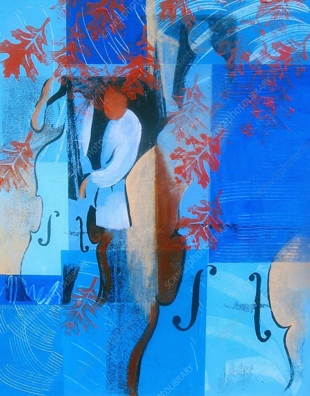 Abstract of man playing blues on double bass, illustration