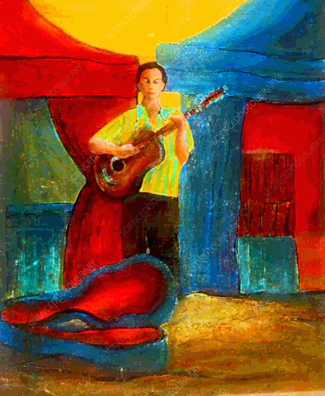 Street performer playing guitar, illustration