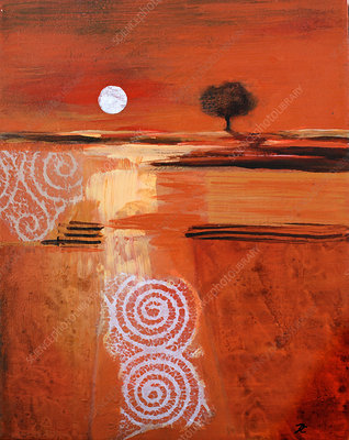 Abstract red landscape at sunset, illustration