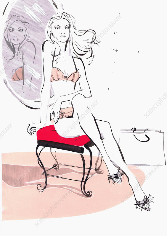Beautiful woman sitting on chair in underwear, illustration