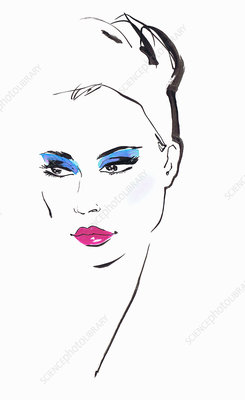 Woman with blue eyeshadow, illustration