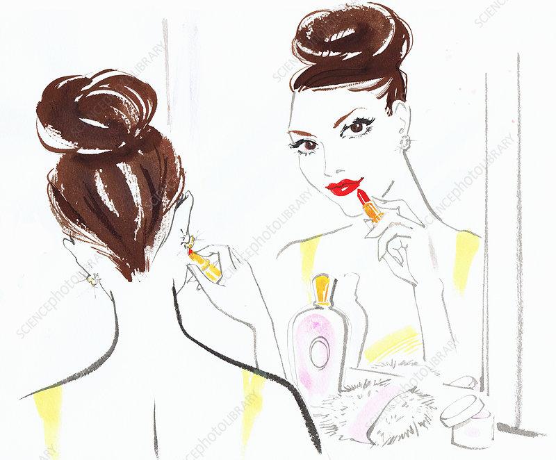 Beautiful woman applying lipstick in mirror, illustration