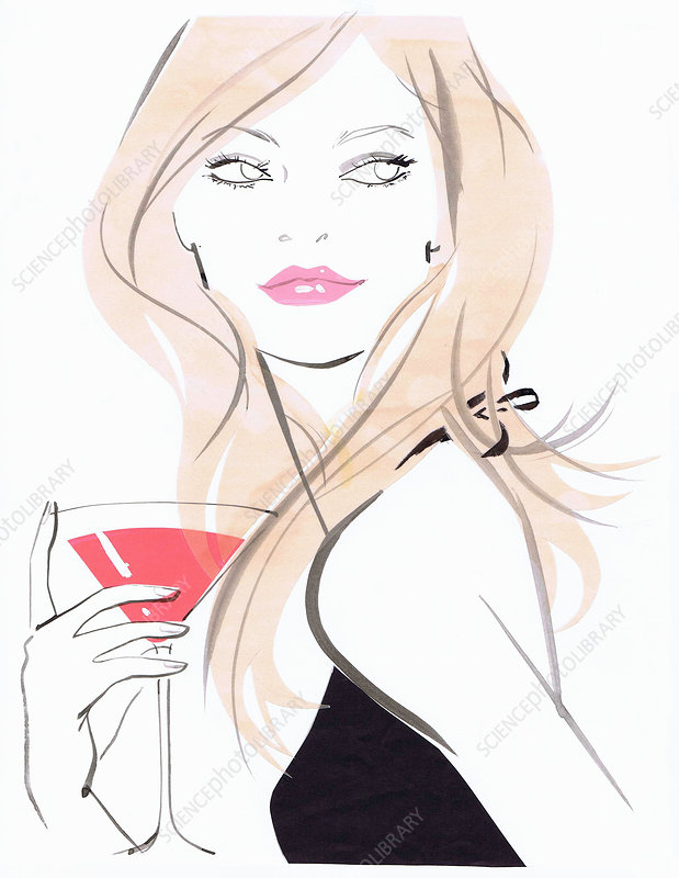 Beautiful woman drinking cocktail, illustration