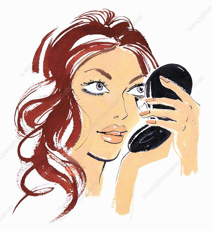Beautiful woman applying eye liner, illustration