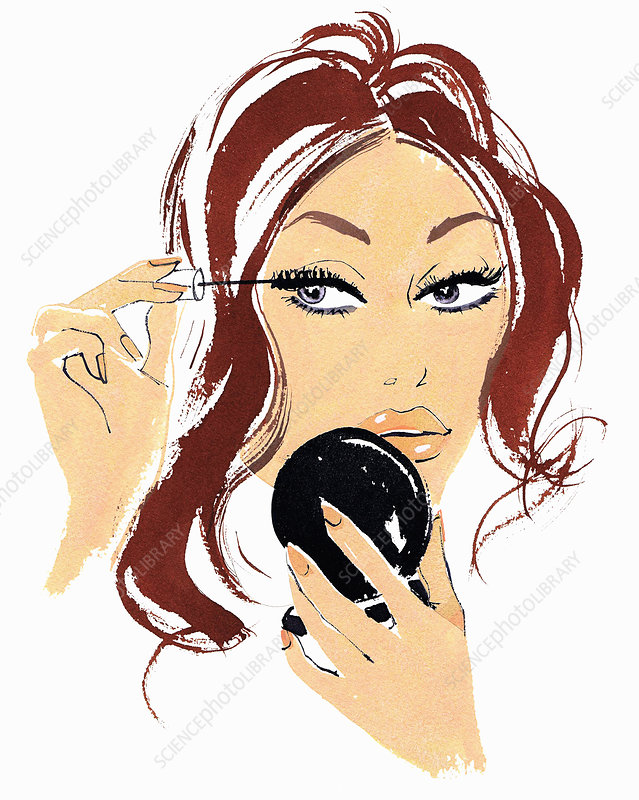 Beautiful woman applying mascara, illustration