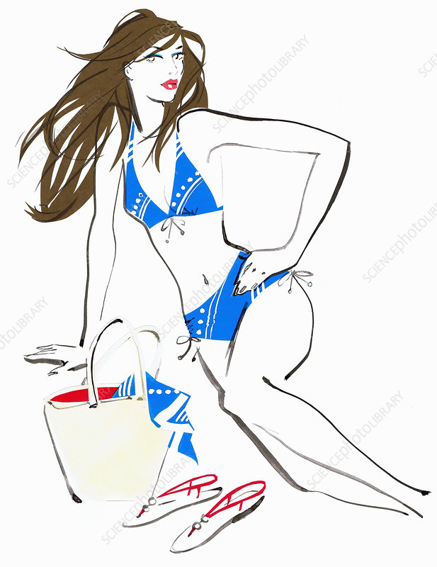 Beautiful woman posing in bikini, illustration