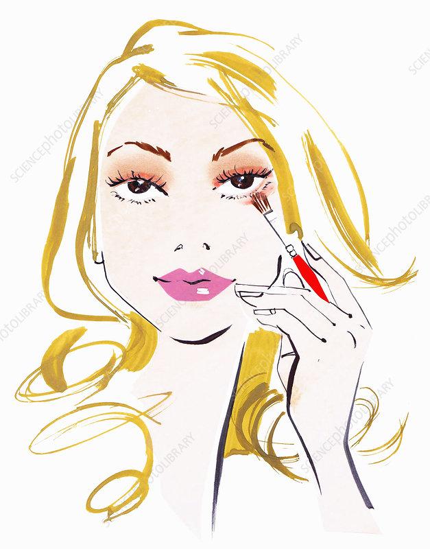 Close up beautiful woman applying eyeshadow, illustration