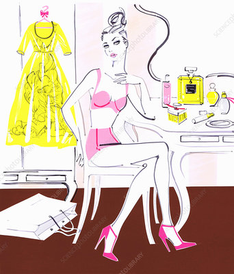 Woman preparing to get dressed, illustration