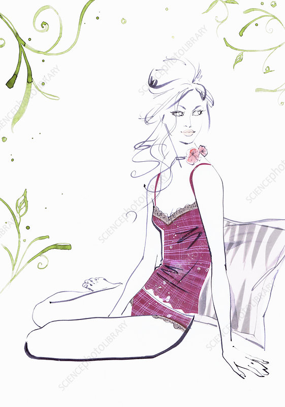 Woman in camisole sitting on bed, illustration