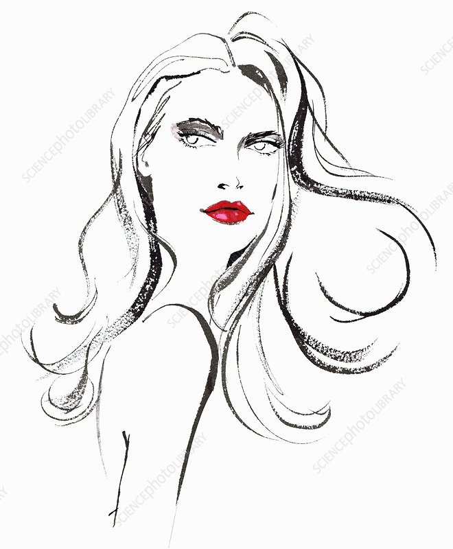Beautiful woman with long hair illustration