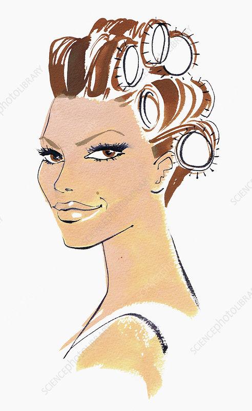 Beautiful woman in hair curlers, illustration