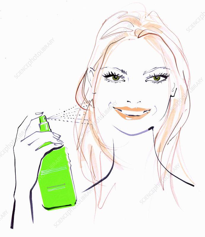 Beautiful woman spraying hair, illustration