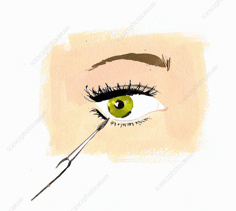 Close up woman applying eye liner, illustration