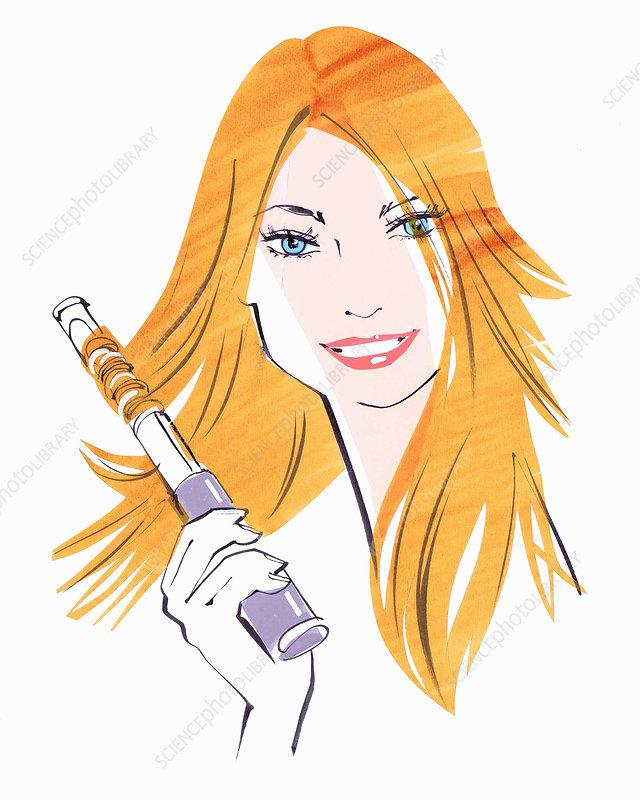 Woman straightening hair, illustration