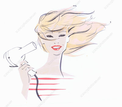 Close up beautiful woman drying hair, illustration