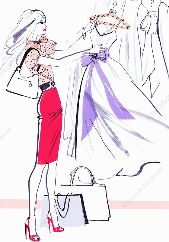 Beautiful woman shopping admiring evening gown, illustration