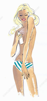 Beautiful woman applying spray tan, illustration