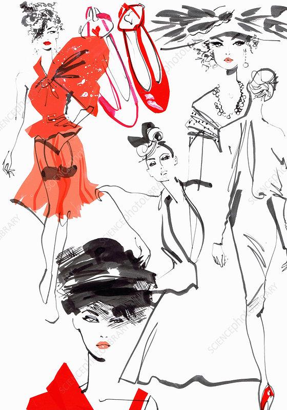 Composite image of catwalk fashion models, illustration