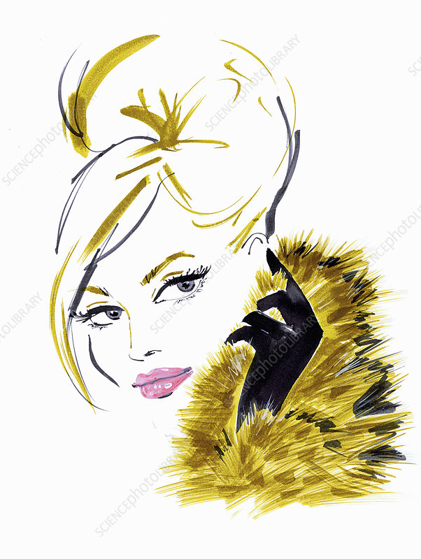 Glamorous blonde woman wearing fur, illustration