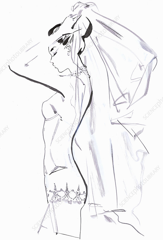 Bride getting ready trying on wedding veil, illustration