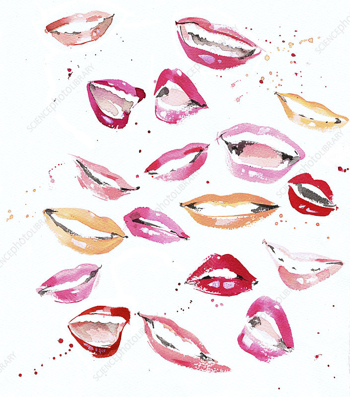 Lots of happy mouths and lips with lipstick, illustration