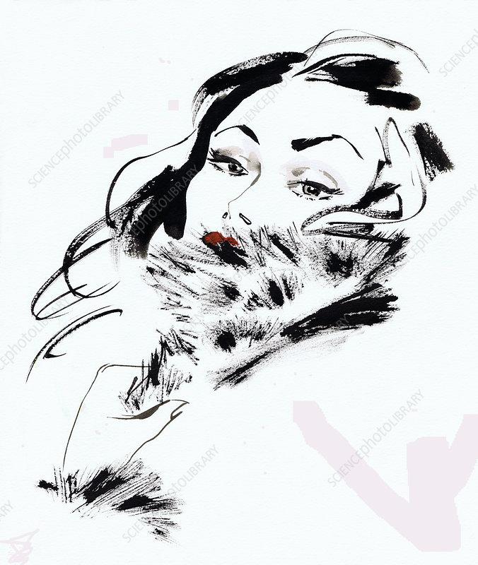 Glamorous brunette woman wearing fur, illustration