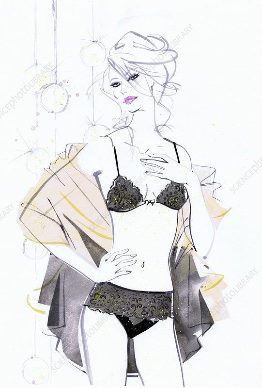 Beautiful woman wearing black underwear, illustration