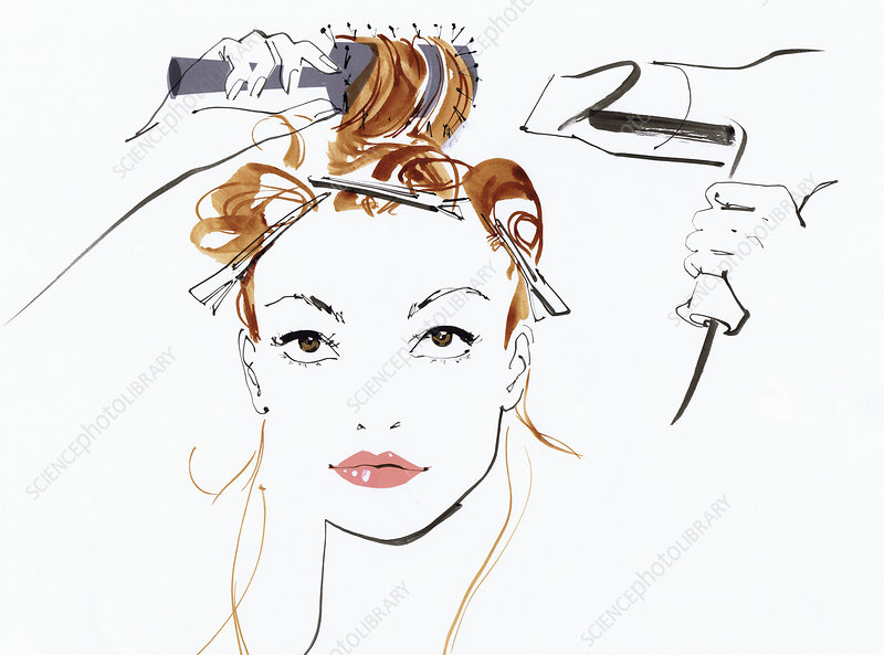Woman styling her hair, illustration