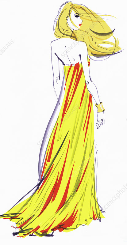 Woman wearing evening gown, illustration