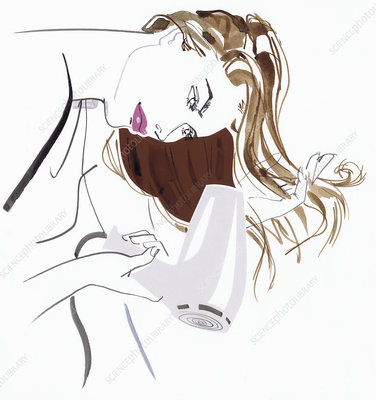 Beautiful woman blow drying long hair, illustration